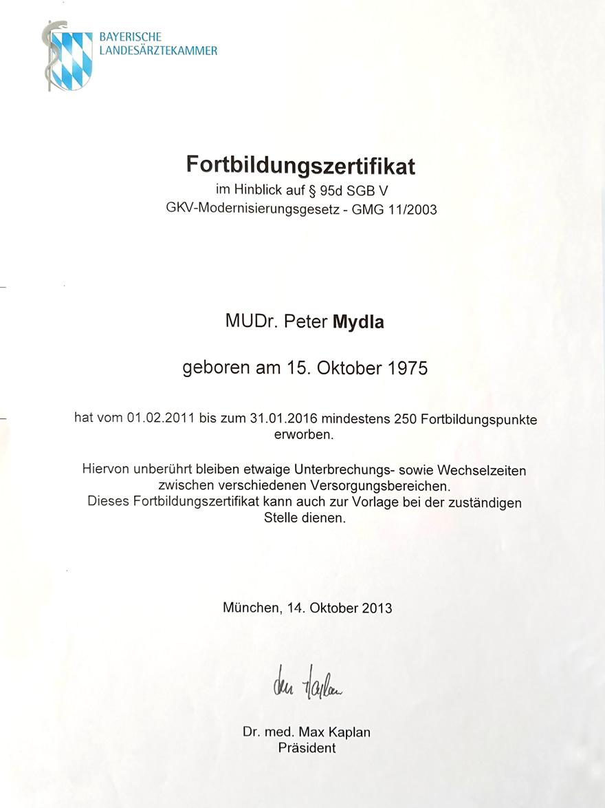 Zertifikat GKV Modernisierungsgesetz - MUDr. Peter Mydla